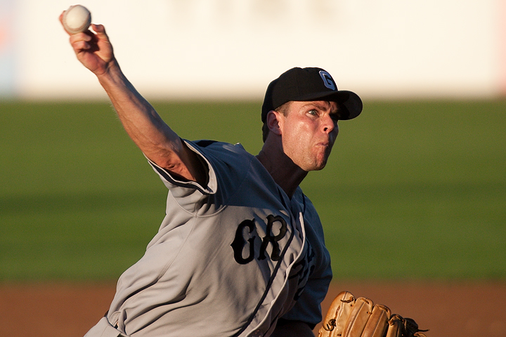 St. Paul Saints pitcher Mitch Wylie throws a fastball during a game againts the Souix Falls Canaries on June 23, 2009. Wylie pitched six innings, giving up just three runs, all in the first two innings, while striking out six batters. Wylie improved his record to 5-2 with the win.