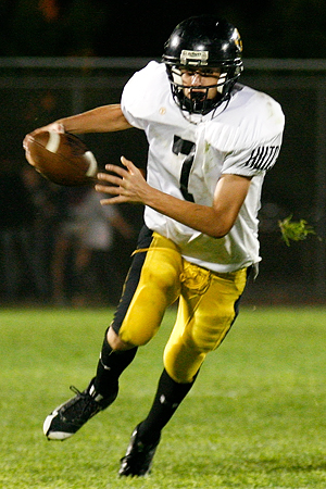 Hutchinson quarterback Jack Haffley runs the ball during a 19-14 Hutchinson victory on Sept. 18, 2009 in Northfield, Minn