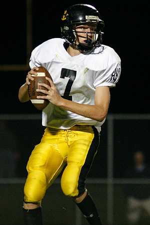 Hutchinson quarterback Jack Haffley during a 19-14 Hutchinson victory on Sept. 18, 2009 in Northfield, Minn.