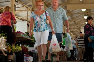 Two people walk through the Minneapolis Farmers Market on  Lyndale Avenue in Minneapolis, Minn. on July 12, 2009.