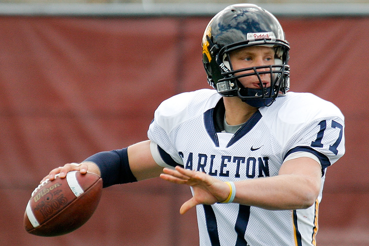 Carleton QB Vaughn Schmid passes during the third quarter of a game between Augsburg College and Carleton College on October 10, 2009 in Minneapolis. Schmid had 265 total yards of offense.