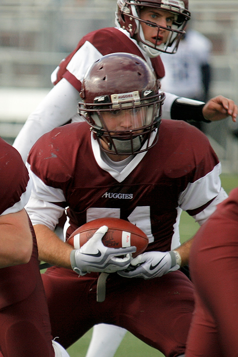 Augsburg RB Waylon Hartwick rushes for a 7-yard touchdown during the third quarter of a game between Augsburg College and Carleton College on October 10, 2009. Hartwick had 119 yards on 17 carries in the 31-28 Augsburg victory.