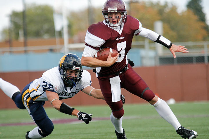 Augsburg QB Marcus Brumm rushues during a game between Augsburg College and Carleton College on October 10, 2009. Brumm had 268 yards of total offense in the game. Augsburg won 31-28.
