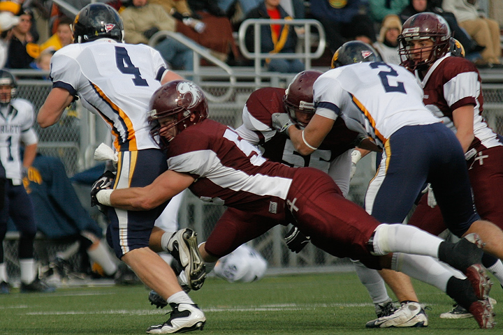 Augsburg's Alex Glasenapp makes one of 7 tackels during a game between Augsburg College and Carleton College on October 10, 2009 in Minneapolis, Minn. Augsburg won 31-28.