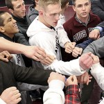 MINNEAPOLIS -- Members of the Augsburg College wrestling team gather at the end of a 38-3 victory over Minnesota State University Moorhead on January 17, 2012 in Minneapolis, Minn. Augsburg won the last nine of ten matches, including six with bonus points.