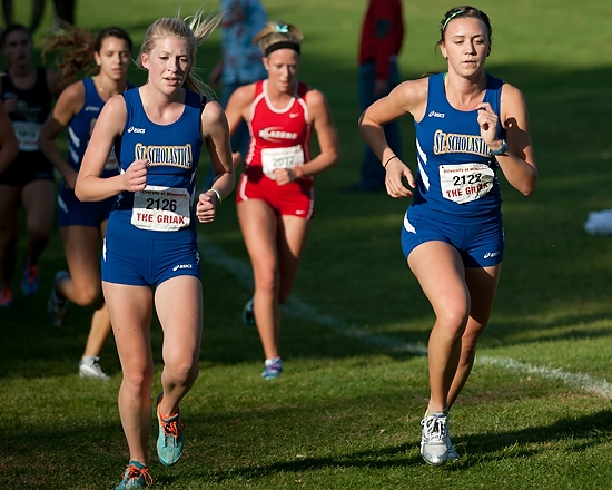 Izzy Plantenberg (2126) and Hallie Miller (2122) during the second half of the race.