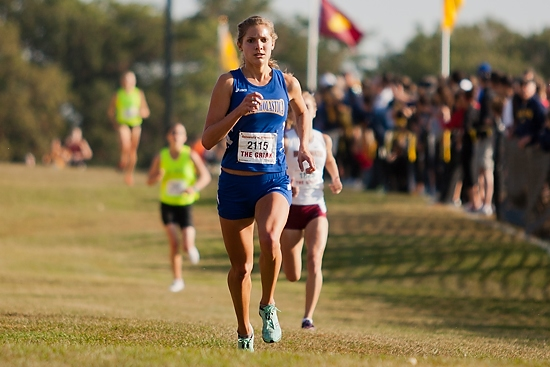 Chelsea Johnson approaches the finish line for a sixth-place finish.