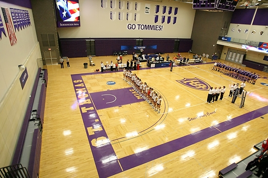 "ST. PAUL, MINN. (Nov. 14, 2013) -- The College of St. Benedict and Cornell College volleyball teams during the playing of the ""National Anthem"" before an NCAA Div. III Women's Volleyball Regional game at the University of St. Thomas. St. Benedict went on to defeat Cornell 3-0."