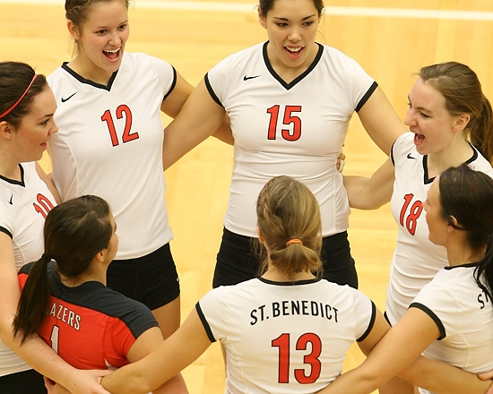 ST. PAUL, MINN. (Nov. 14, 2013) -- The College of St. Benedict volleyball team starters gather before the start of an NCAA Div. III Women's Volleyball first-round Regional game at the University of St. Thomas. St. Benedict went on to defeat Cornell 3-0.