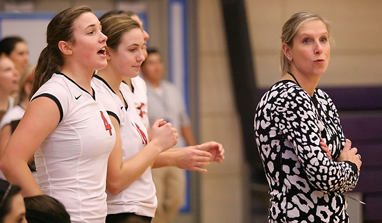 ST. PAUL, MINN. (Nov. 14, 2013) -- College of St. Benedict head coach Nicole Hess (right) reacts to a Blazer pointl during the second set of an NCAA Div. III Women's Volleyball first-round Regional game at the University of St. Thomas. St. Benedict defeated Cornell (Iowa) 3-0.