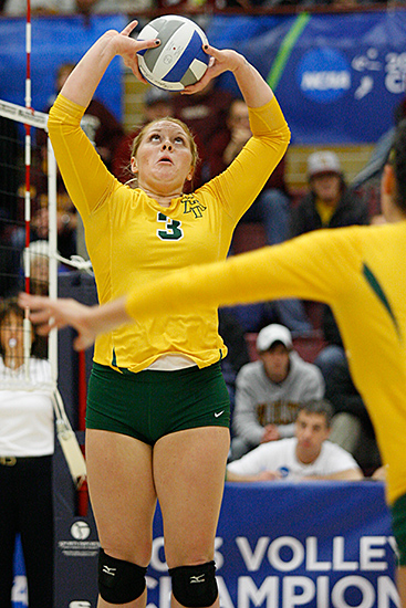 DULUTH, MINN (Dec. 5, 2013) -- Arkansas Tech Setter Amber Cerrillos (3) during the first set of a 2013 NCAA Division II Volleyball Championships First Round match between host Minnesota, Duluth and Arkansas Tech University at the Romano Gym. UMD swept ATU 3-0.