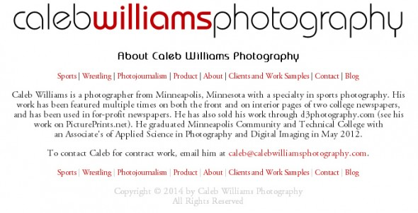Caleb Williams Photography Website Redesign: About Page