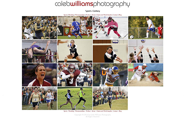 Caleb Williams Photography Website Redesign: Gallery Page