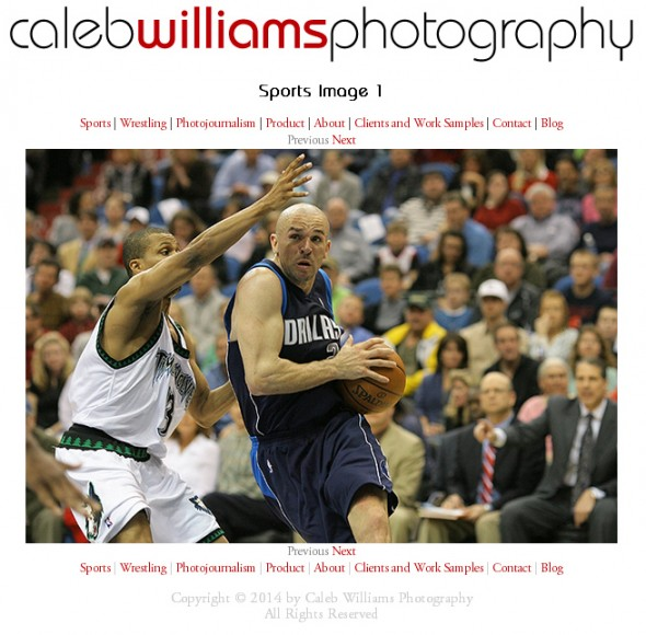 Caleb Williams Photography Website Redesign: Imageview