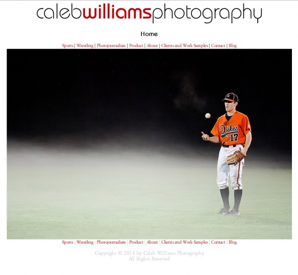 Caleb Williams Photography Website Redesign: Index