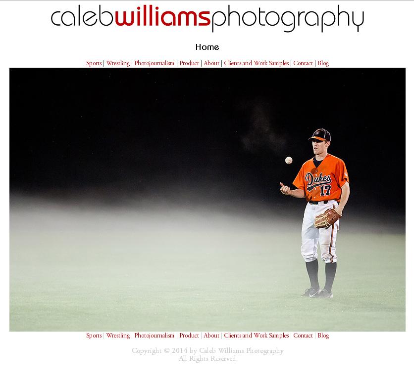 Caleb Williams Photography Website Redesign: Index