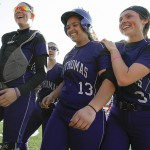 ST. PAUL, MINN. (April 6, 2014) -- St. Thomas' Brenna Walek celebrates with teammates after hitting her third romerun of the game as part of a 6-0 win by the Tommies.