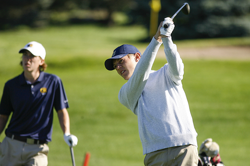 Bethel golfer Alex Case tees off on the ninth hole at Majestic Oaks Golf Club in Ham Lake, Minn. on Sunday, Sept. 7, 2014. Case finished tied for 21st, shooting a 151 (77-74) over the two day tournament, ending at seven over par.