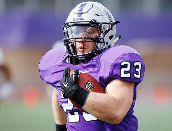 St. Paul, Minn. -- St. Thomas junior running back Jordan Roberts rushed 92 yards and three touchdowns in a 51-7 victory over Wisconsin-La Crosse on Sept. 12, 2015.