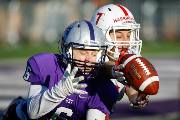 ST. PAUL, MINN. (Nov. 28, 2015) -- St. John's wide receiver Dan Harrington (7) battles St. Thomas defensive back Chris Pierson (6) for a pass during the fourth quarter of an NCAA Div. III Football second round playoff game at the University of St. Thomas in St. Paul, Minn. The No. 4 Tommies defeated their arch-rival No. 10 Johnnies 38-19. The pass was incomplete.